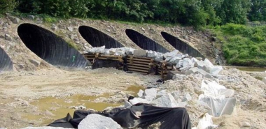 Temporary Dam during Construction to divert Flow