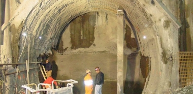 Shotcrete at the face of T.H. & Bench