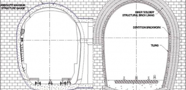 Cross Section of refurbished Tunnel (left), original Tunnel (right)