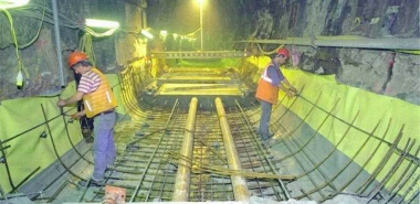 Installation of the Tunnel Invert and Track Slab Reinforcement