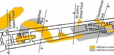 Plan view of the station showing the projection of the Faults at tunnel axis level and the Sand lenses