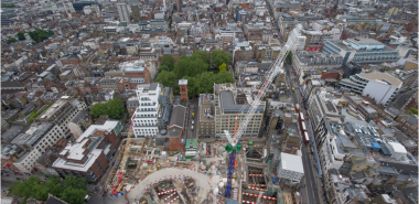 Aerial view of the construction site
