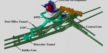 3D view of proposed tunnelling and existing infrastructure