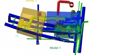 Graphic  showing split of 3D FE models