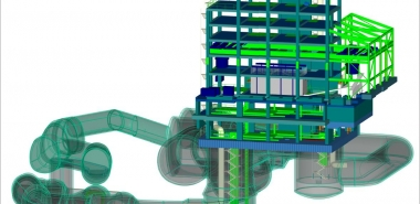3D Graphic showing construction site and building frame used for laydown/plant