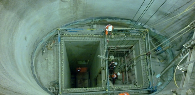 Secondary lining works in the upper shaft