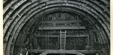 Archive photo of heading of escalator tunnel (1931)