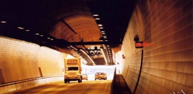 oncoming traffic from manwalk in southbound tube of Cumberland Gap Tunnel. Taken in Sept 2002 by N. Wageley