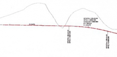 Profile showing the existing topography along the Red Alignment Option - Westbound Tunnel